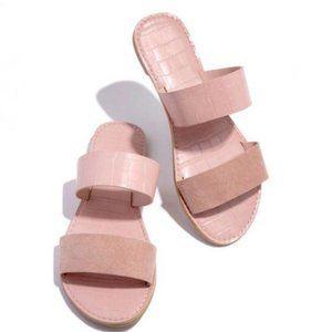 Double Strap Croc & Faux Suede Sandals